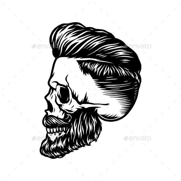 Vintage Monochrome Concept of Stylish Skull
