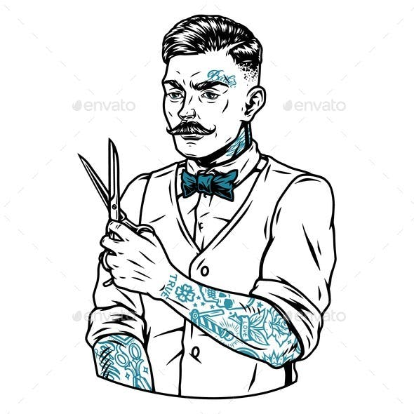 Vintage Concept of Tattooed Mustached Barber