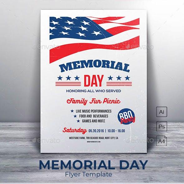 Memorial Day - Family Fun Picnic Flyer Template