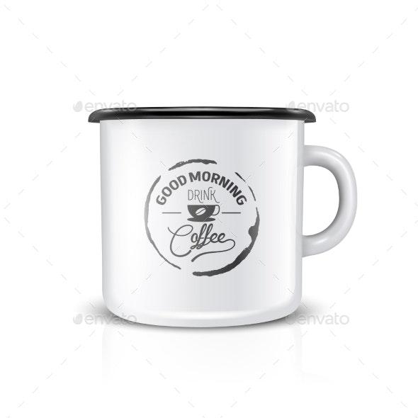 Vector 3d Realistic Enamel Metal Blank White Mug - Food Objects