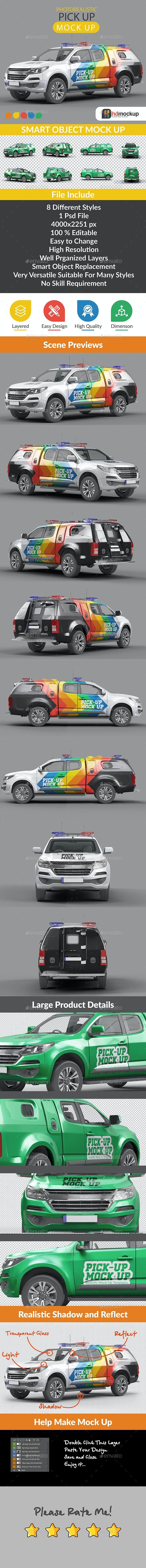Photorealistic Pick Up Car Mock Up - Vehicle Wraps Print
