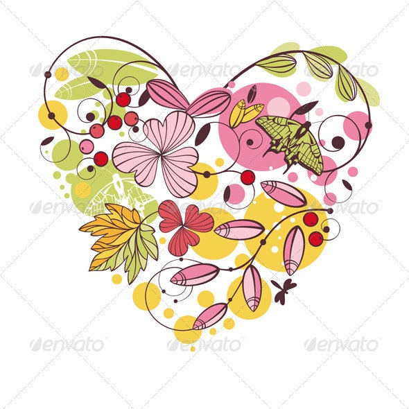 Abstract Floral Heart - Flourishes / Swirls Decorative