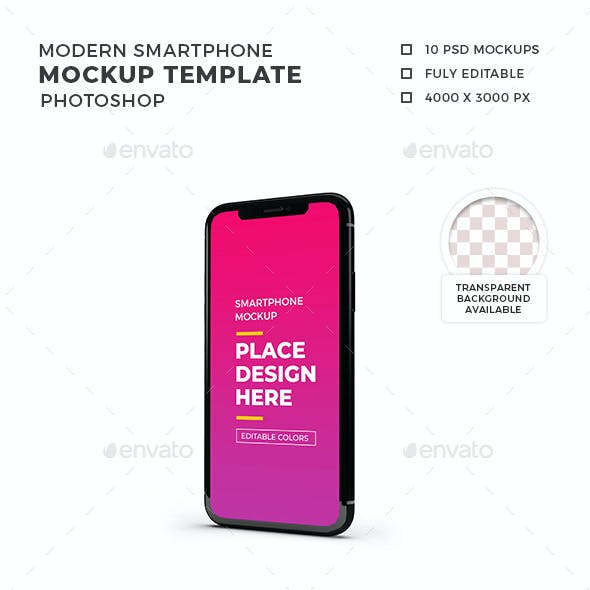 Modern Smartphone Mockup Template Set 1