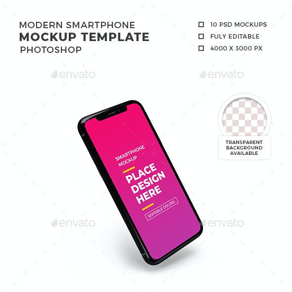 Modern Smartphone Mockup Template Set 2