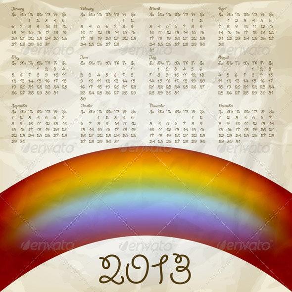2013 Calendar with Rainbow - New Year Seasons/Holidays