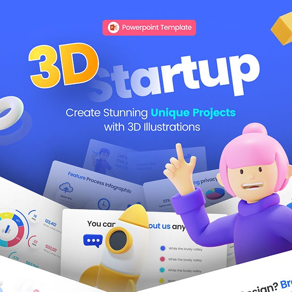 3D Start-up Illustration PowerPoint Presentation Template Fully Animated