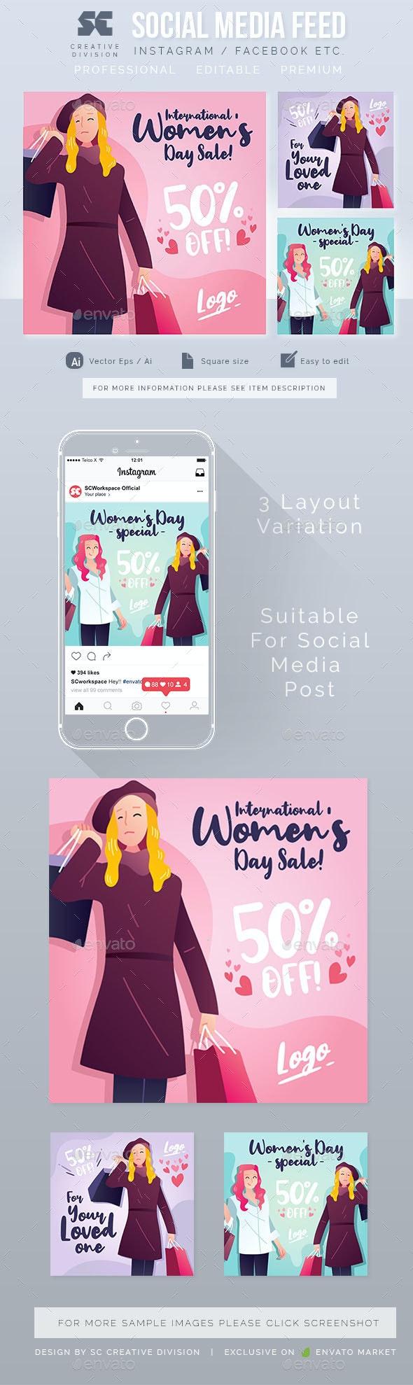 Women Sales Social Media Template - Social Media Web Elements