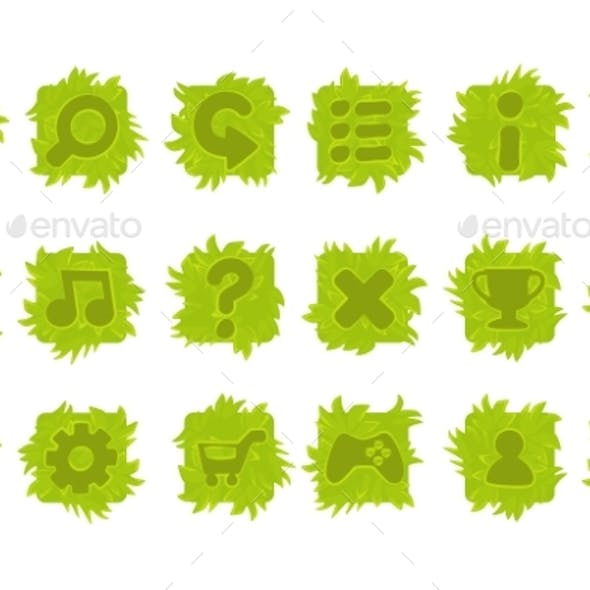 Set of Vector Grass Buttons for Game Menu