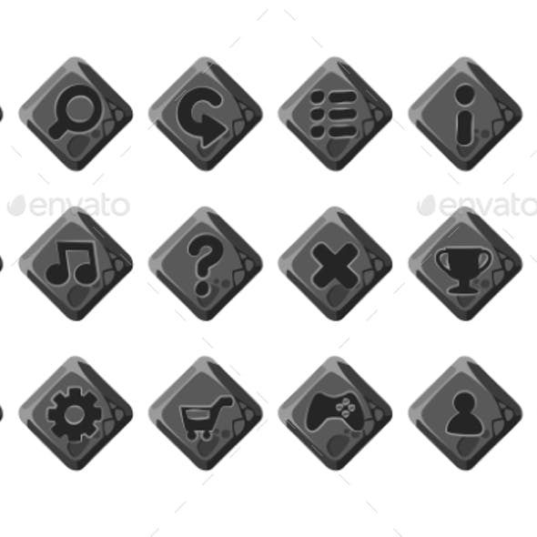 Set of Vector Cartoon Stone Buttons for Game Menu