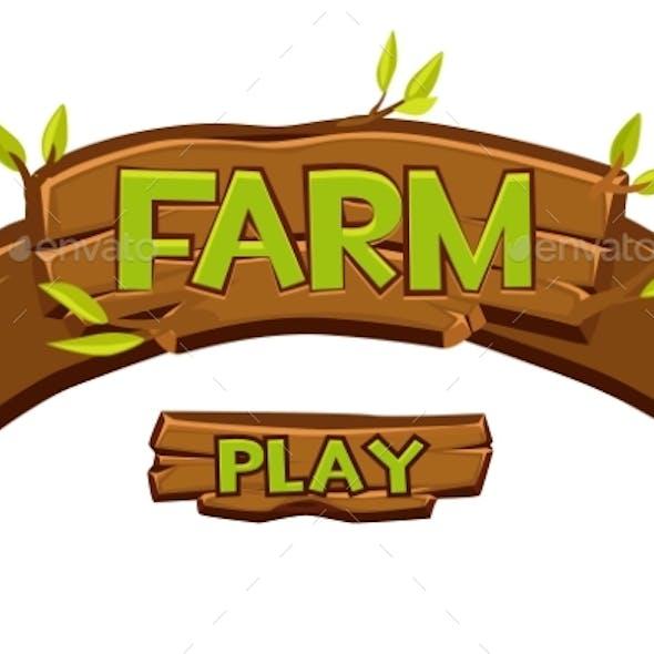 Vector Wooden Farm Logo for Ui Game