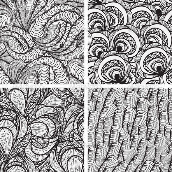 4  Seamless Monochrome Patterns