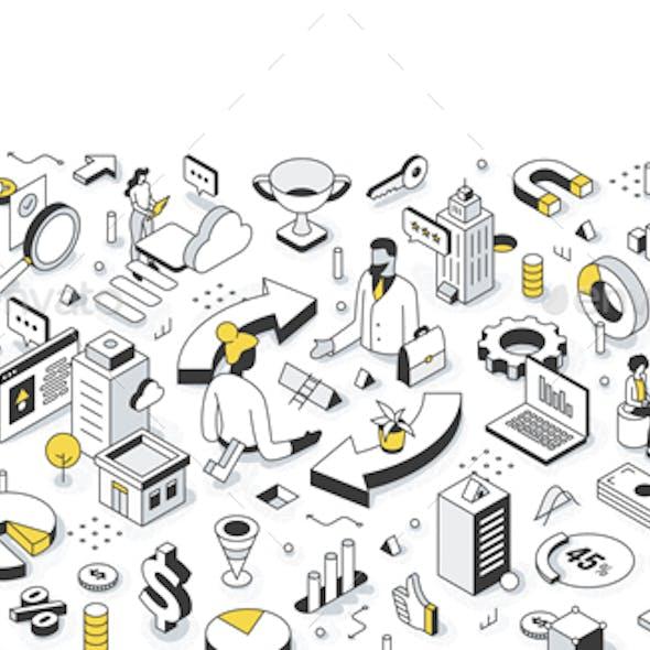 Business-to-Business B2B Isometric Illustration