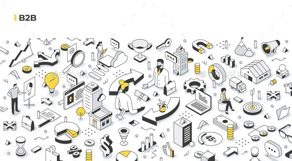 Business-to-Business B2B Isometric Illustration - Concepts Business