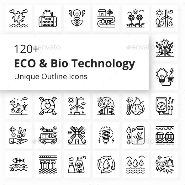 ECO and Bio Technology Unique Outline Icons