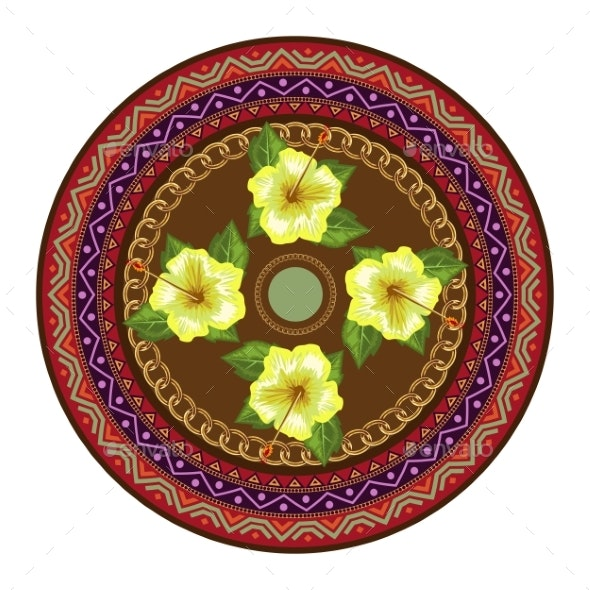 Decorative Plate with Round Ornament in Ethnic - Flowers & Plants Nature