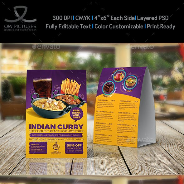 Indian Restaurant Table Tent Template Vol.3