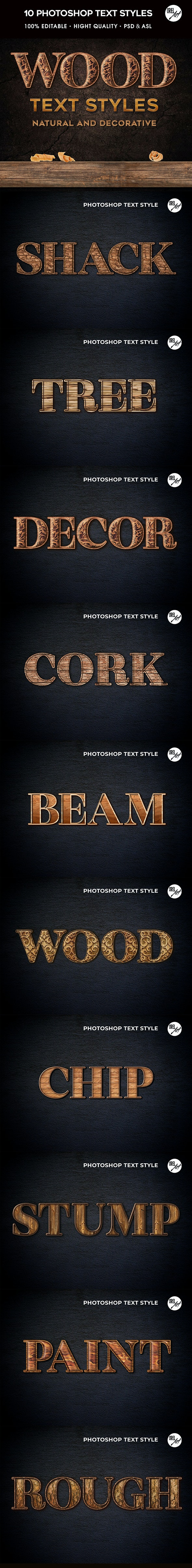 Wood Photoshop Styles - Text Effects Actions
