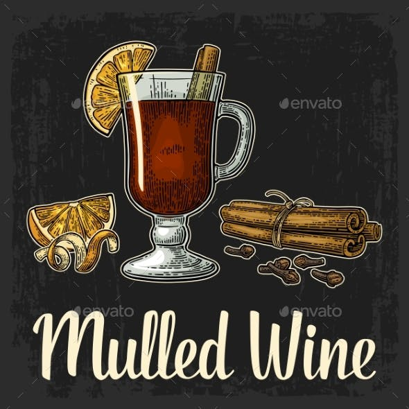 Mulled Wine with Glass and Ingredients