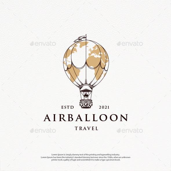 Travel World Balloon Logo Template