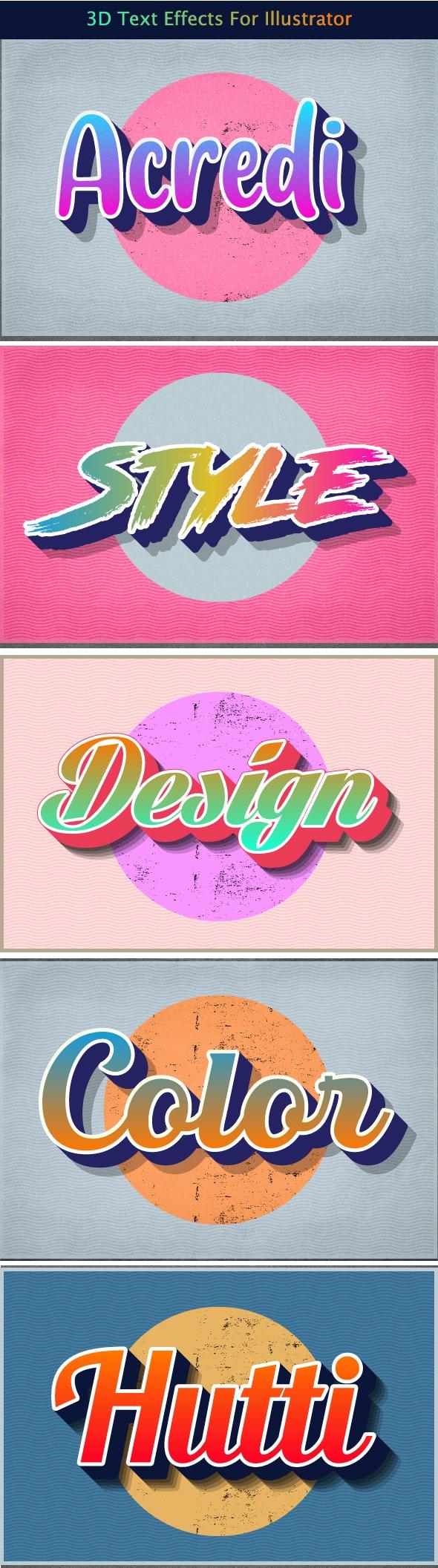 3d Text Effects for Illustrator - Styles Illustrator