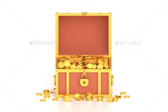 3d Render Treasure Chest with Coins on White - Objects 3D Renders