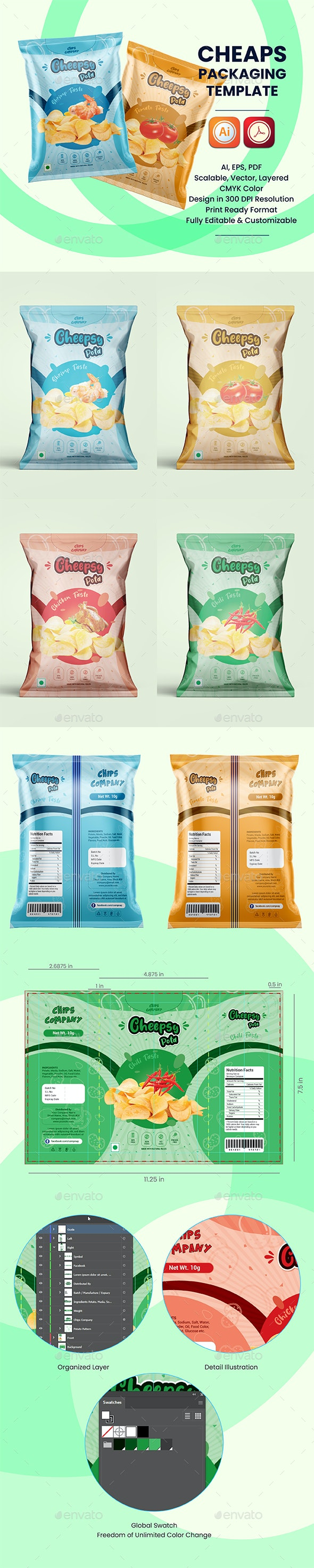 Chips Packaging Template - Packaging Print Templates