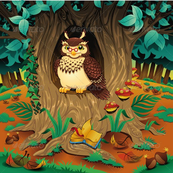 Scene with owl. Cartoon and vector illustration.