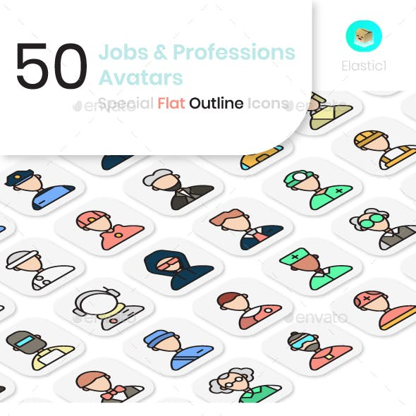 Job and Profession Avatar Flat Outline Icons