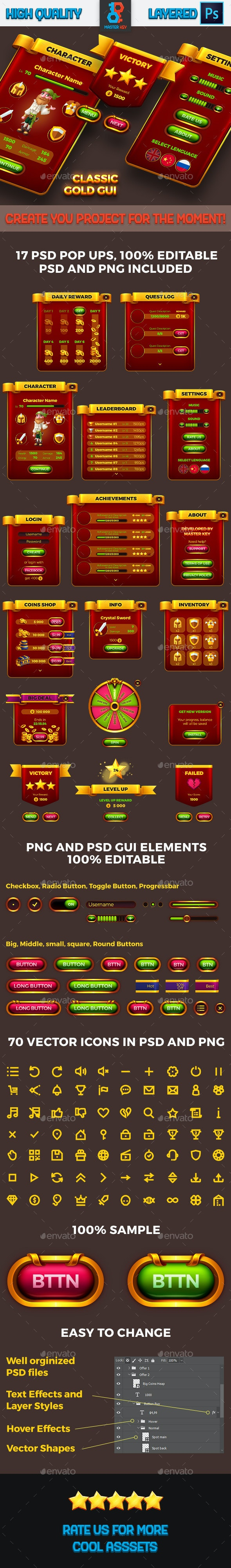 Classic Game Gold GUI - User Interfaces Game Assets