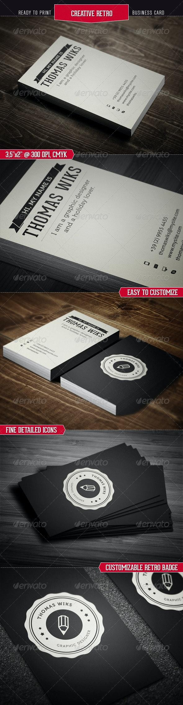 Creative Retro Business Card - Corporate Business Cards