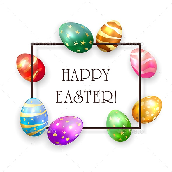 Set of Colored Easter Eggs on White Background - Miscellaneous Seasons/Holidays
