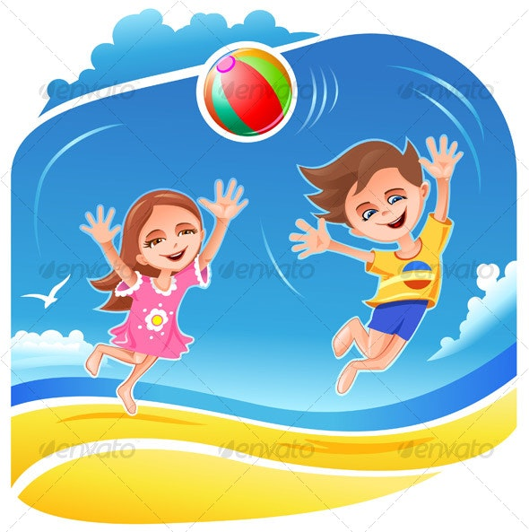 Boy and girl playing with ball on the beach - People Characters