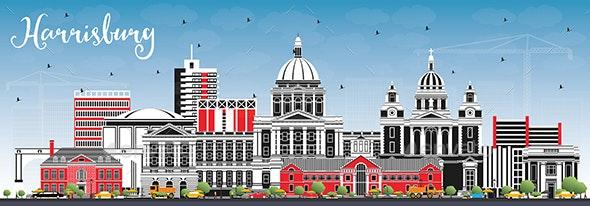 Harrisburg Pennsylvania City Skyline with Color Buildings and Blue Sky - Buildings Objects