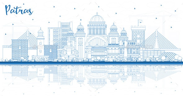 Outline Patras Greece City Skyline with Blue Buildings and Reflections - Buildings Objects
