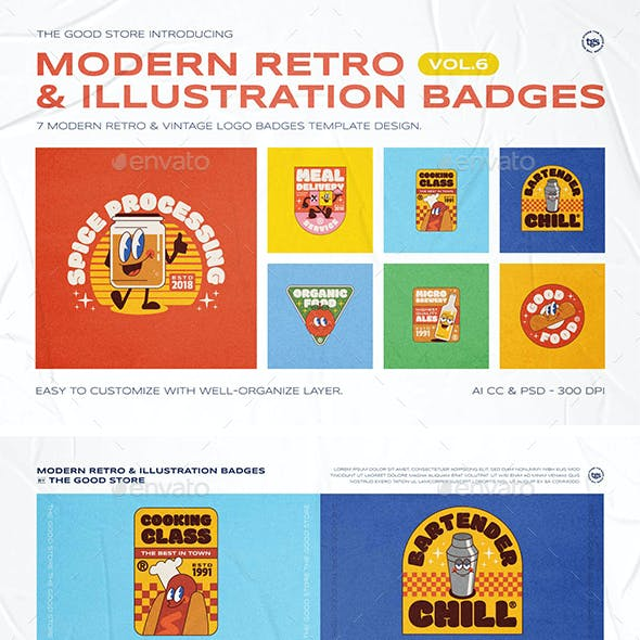 Modern Retro Illustration Logo Badges Set Vol.6
