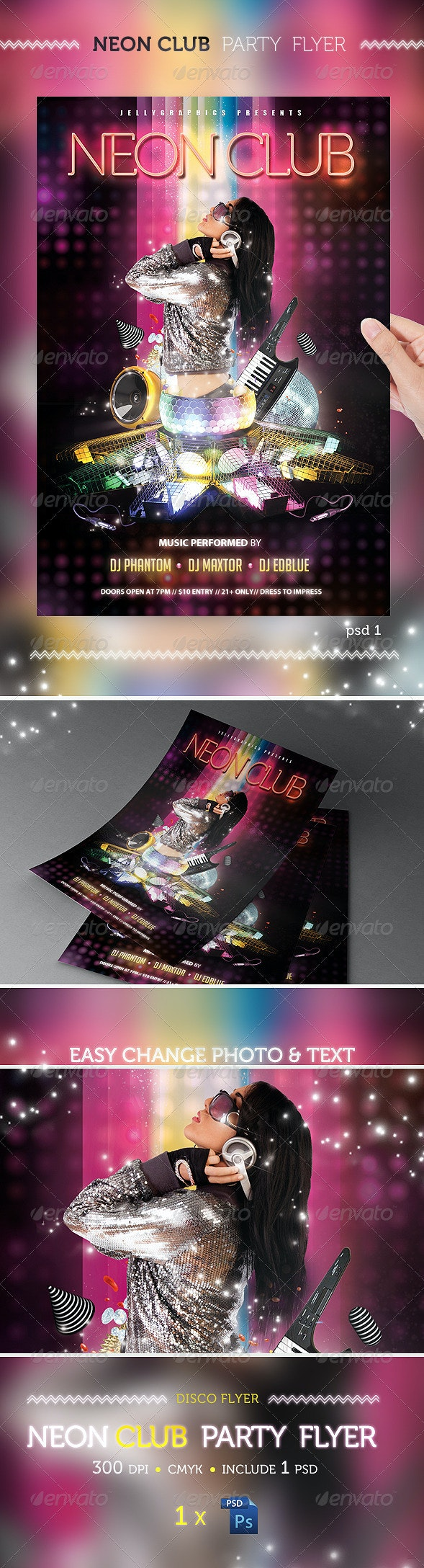 Neon Club Party Flyer Template - Clubs & Parties Events