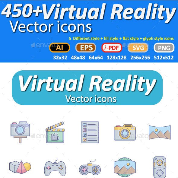 100 Virtual Reality Flat inside vector icon which can easily modify or edits