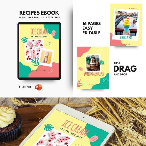 Ice Cream Summer Recipes eBook PowerPoint Template