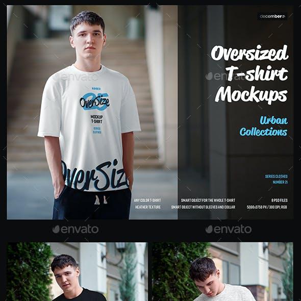8 Oversized T-shirt Mockup. Urban Style