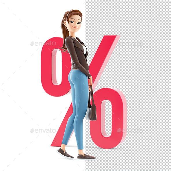 3D Cartoon Woman in front of Percent Sign