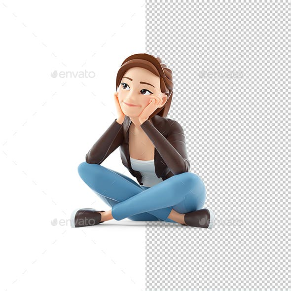 3D Cartoon Woman Sitting on Floor and Thinking