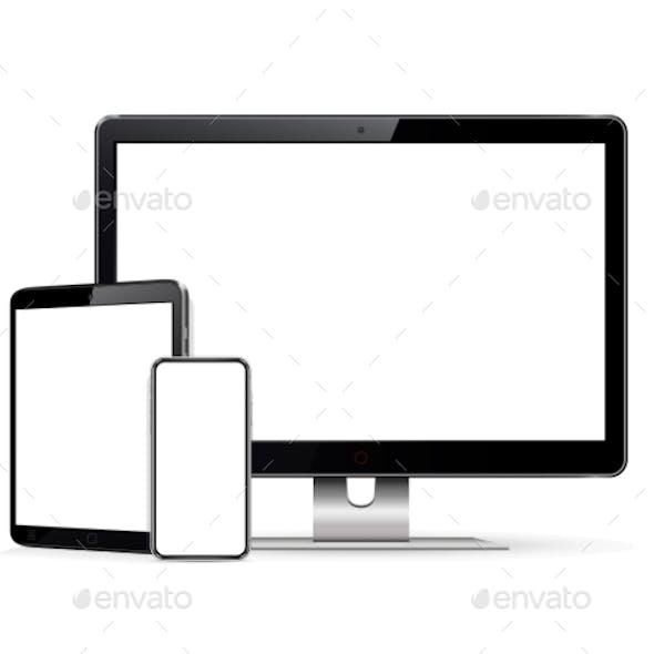 Computer Display Tablet Phone Mock Up