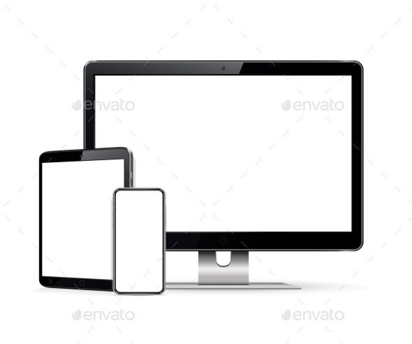 Computer Display Tablet Phone Mock Up - Computers Technology