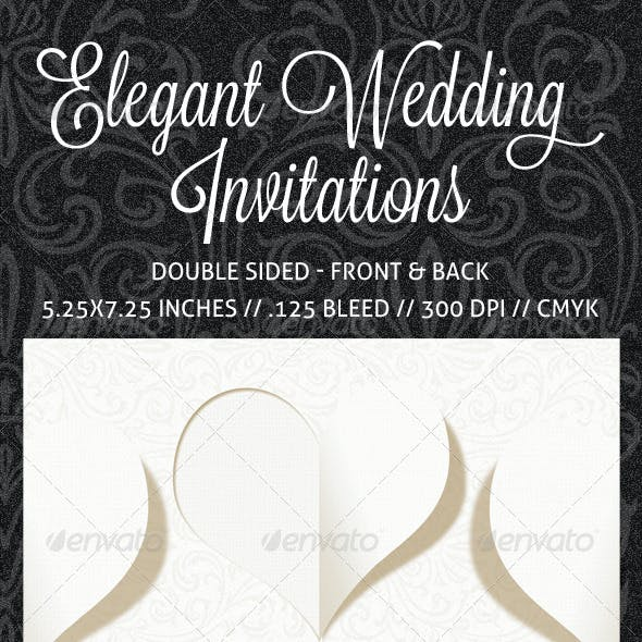 Elegant Wedding Invitation, RSVP and Info Card