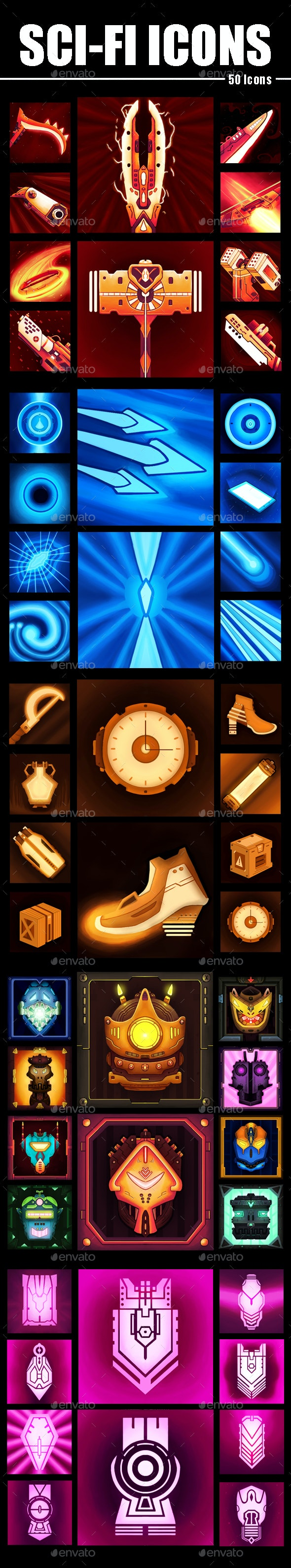Sci-Fi Icon Designs - Miscellaneous Game Assets
