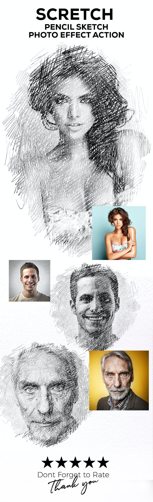 Sketch - Pencil Sketch One Click Action - Photo Effects Actions
