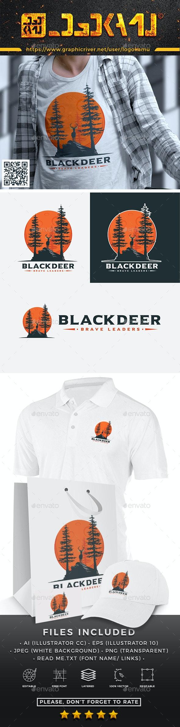 Black Deer Logo - Animals Logo Templates