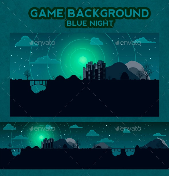 Game Background Blue Night - Backgrounds Game Assets