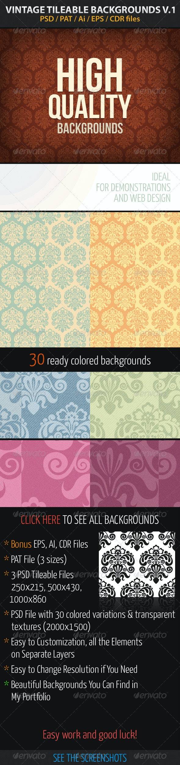 Vintage Tileable Backgrounds v1 - Abstract Backgrounds