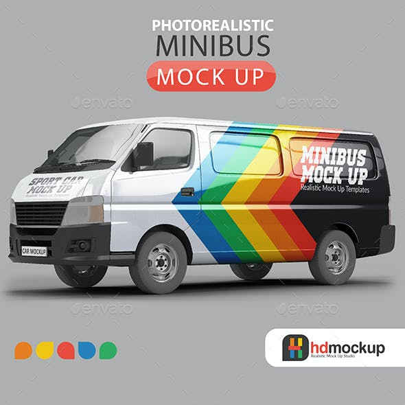 Photorealistic Minibus Car Mock Up